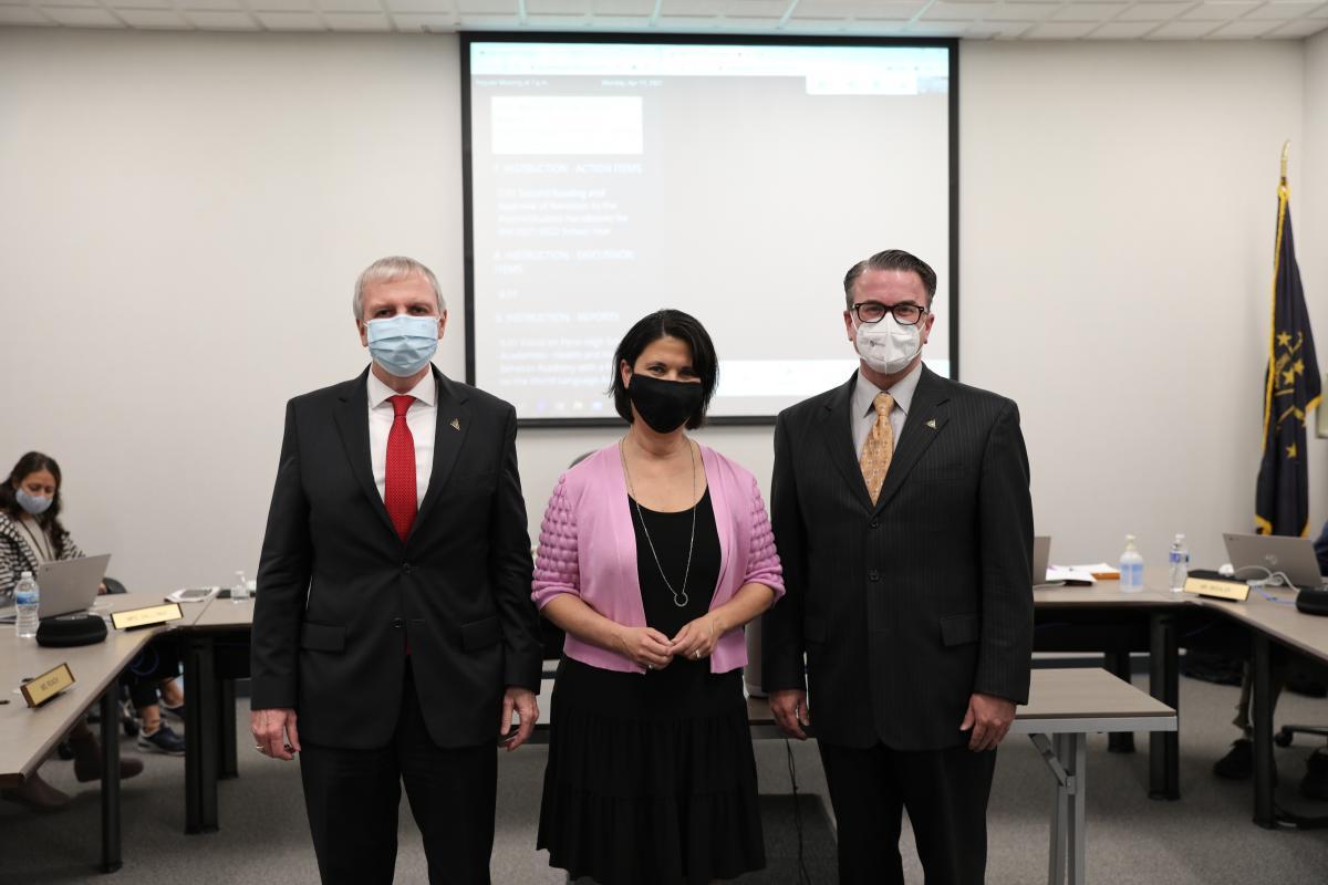 Dr. Thacker, Dr. Soto Kile, Pres. Chris Riley