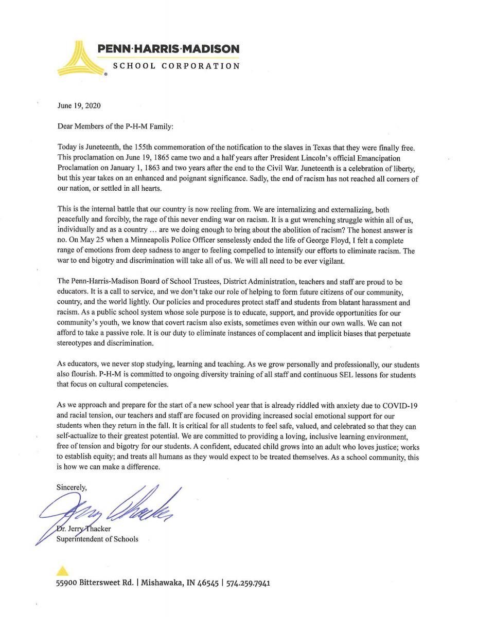 Superintendent letter to PHM Community on Juneteenth
