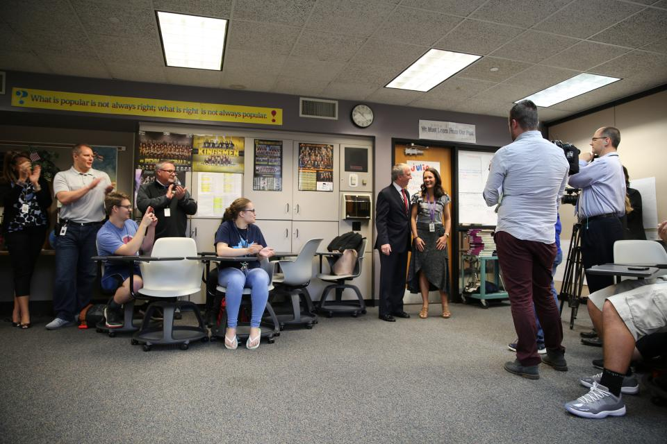 Supt. Dr. Thacker surprises Penn Teacher Danielle Black in her classroom