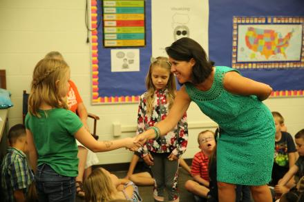 Elm Road Principal Dr. Lisa Soto Kile introduces herself to new students