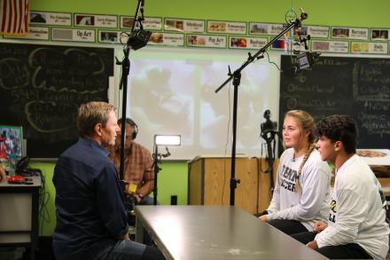 CBS Correspondent Don Dahler interviews Penn students Isabella Costa & Michael Garcia