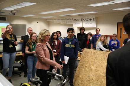 Penn's STEM Architecture students show Ind. Supt. Dr. Jennifer McCormick their latest project