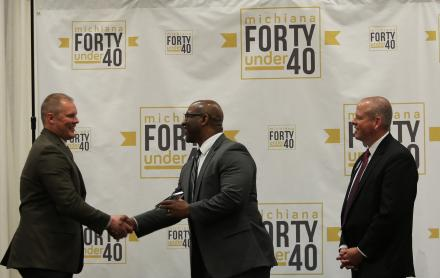 """Randy Williams receiving his """"Forty Under 40"""" award"""