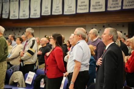 Schmucker Principal Mrs. Dean-Null, Maj. Gen. Peter Sullivan & Supt. Dr. Thacker stand for the National Anthem