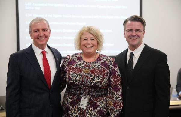 New Mary Frank Principal Christie Heerschop with Supt. Dr. Thacker & Board Pres. Chris Riley after giving a report to the Board