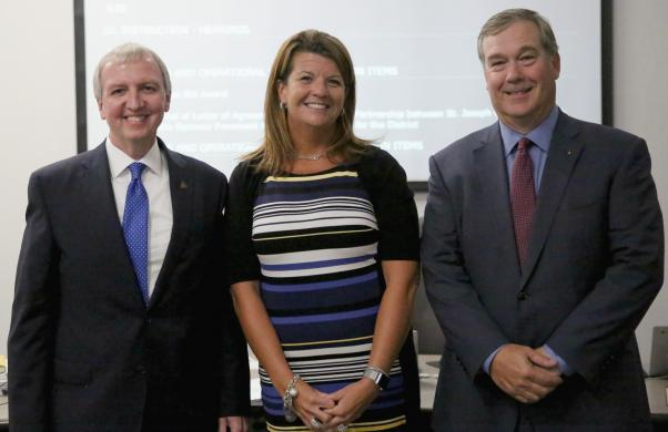 Heather Short, new Asst. Supt. for Instruction, with Supt. Dr. Jerry Thacker & Board Pres. Gary Fox (6/26/17)