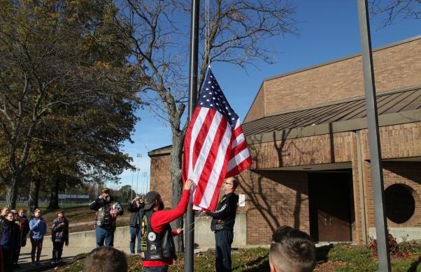 Veterans raise newly donated flag with Bittersweet fifth graders