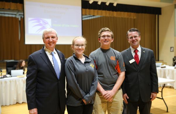 Penn FIRST Robotics Dean's List Award winners McKenna Hillsdon-Smith & Zachary Simon with Supt. Dr. Thacker & Board Pres. Chris Riley