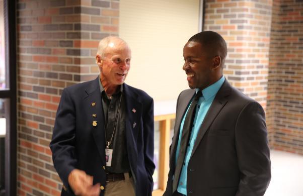 Board Member  Larry Beehler and Grissom Principal Milfort during 1st Day of School Visits (8/23/17)