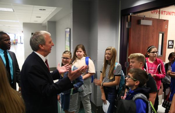 Dr. Thacker meets Grissom students during 1st Day of School Visits (8/23/17)