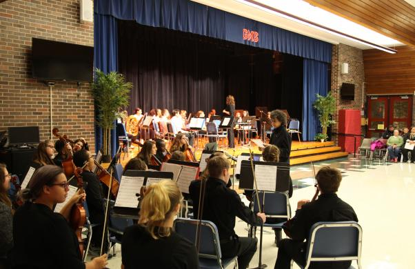 The Grissom orchestra plays at the Veteran's Day program