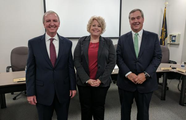 Supt. Dr. Jerry Thacker with Schmucker newest assistant principal, Christie Heerschop, and Board Pres. Gary Fox