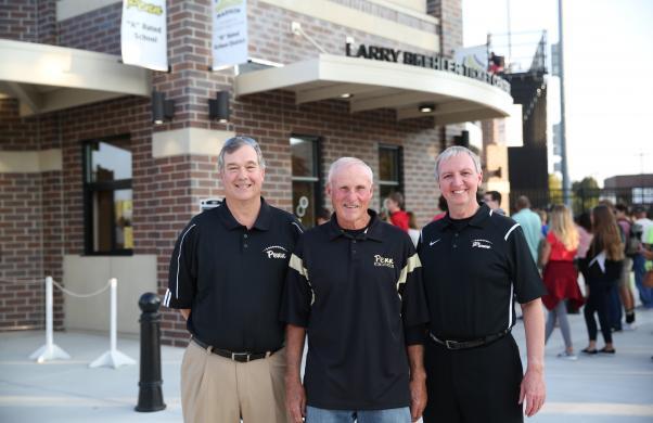 School Board Pres. Gary Fox, Larry Beehler & Dr. Jerry Thacker at the Larry Beehler Ticket Center dedication