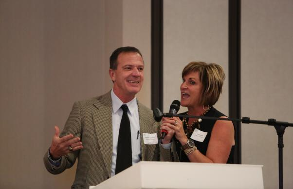 Former Bethel Men's Basketball Coach Mike Lightfoot & wife Jacci address crowd as the keynote speakers
