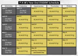 Year-end student calendar